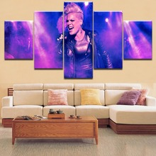 Home Decorative HD Printing 5 Pieces P!nk Concert Poster Rock Star Painting Type Poster Modular For Framework For Living Room недорого