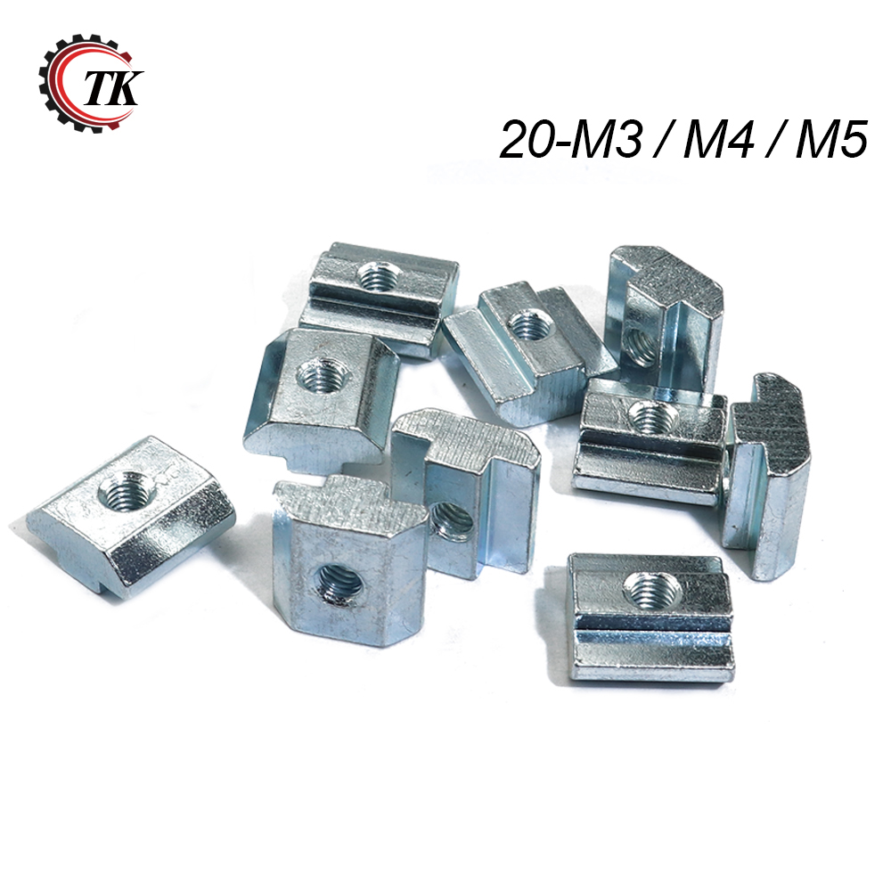 1000pcs 500pcs Zinc Plate Coated M3 M4 M5 Slot T Block T Sliding Nut for 2020
