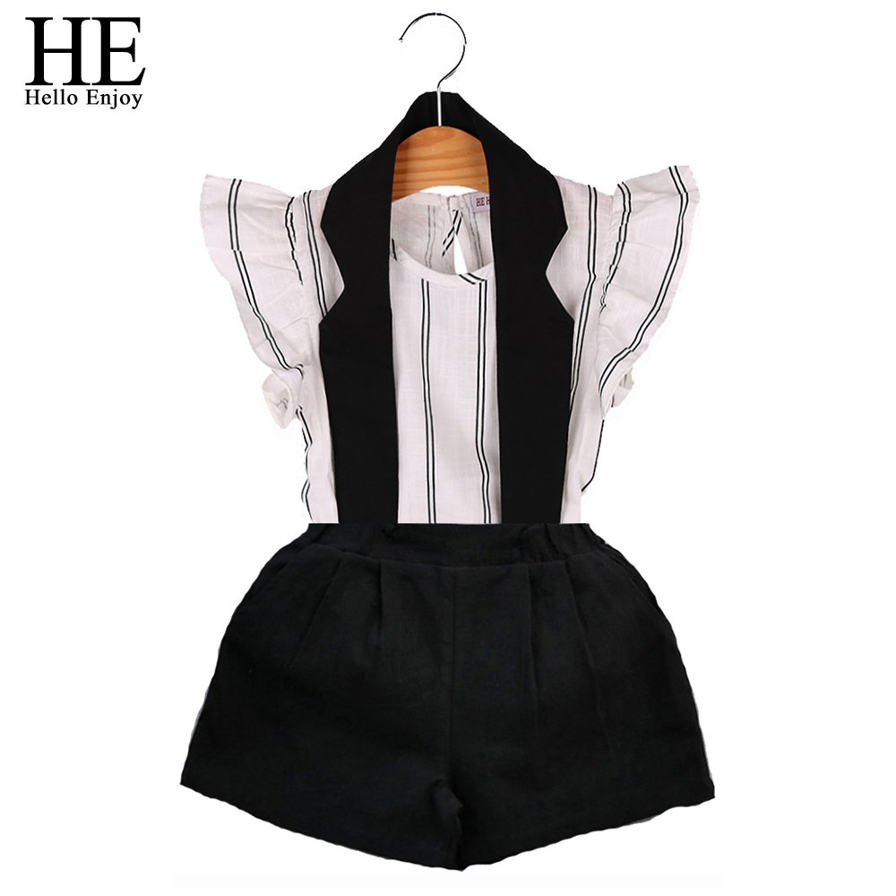 HE Hello Enjoy Girls Clothing Sets 2018 Summer Kids Clothes Girls Brand Striped Vest T-shirt+Hanging neck Shorts Suits 2-6Y