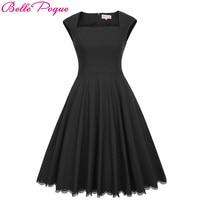Belle Poque Audrey hepburn Robe Vintage Black Party Dress 2017 Womens Clothing Elegant Pinup vestidos Lace Vintage Swing Dresses