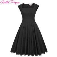 Belle Poque Audrey Hepburn Robe Vintage Black Party Dress 2017 Womens Clothing Elegant Pinup Vestidos Lace