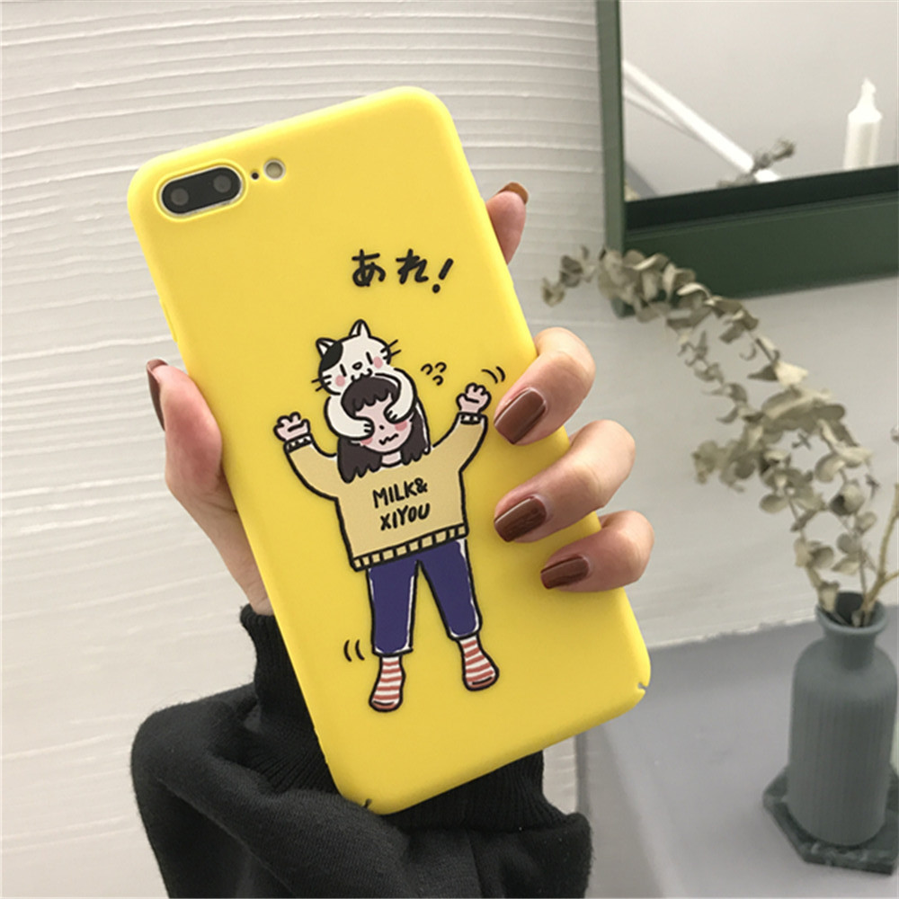 Cute hide cat cute white for iphone 6/6s Plus cover New glossy oil case hard full-shell protection for iphone x 7 8 plus cases