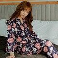 Floral das mulheres pijama quimono dos desenhos animados tops e calças compridas pijama terno pijama homewear para mulheres sleepwear noite