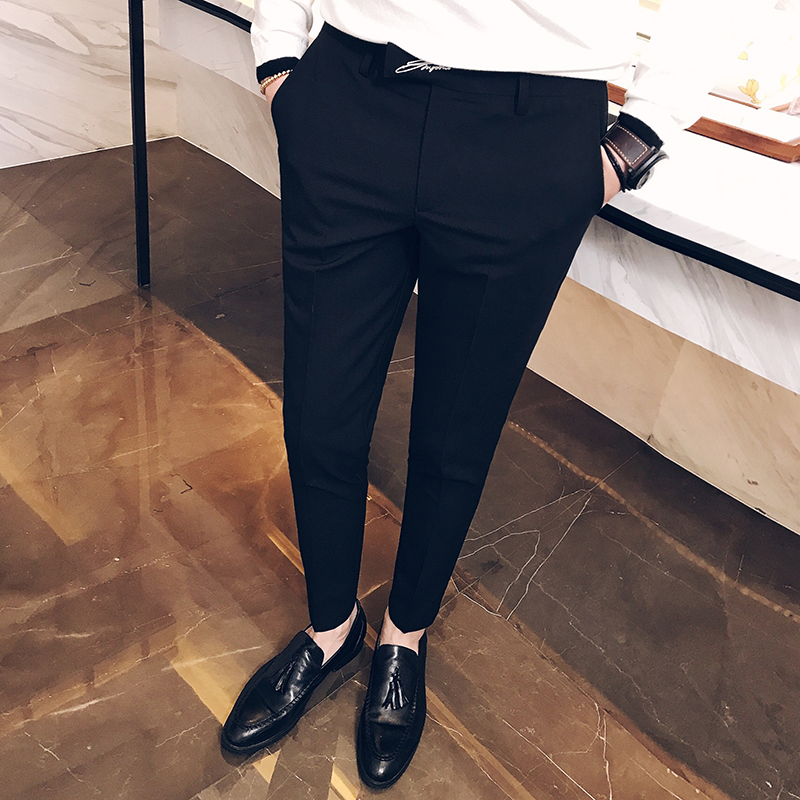 Mens trousers 2017 autumn Korean version of the popular small feet suit pants business casual letters embroidered pants tide