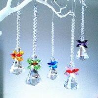 5 unids magnífico cristal Colgantes colores mezclados de cristal ángulo ventana colgante Prismas suncatcher para Lovely Navidad árbol