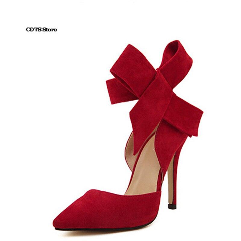 Hauts Plus Chaussures Daim 2016 Rouge 12 De Pointu Papillon Sexy Cad 6Fq1fnwP