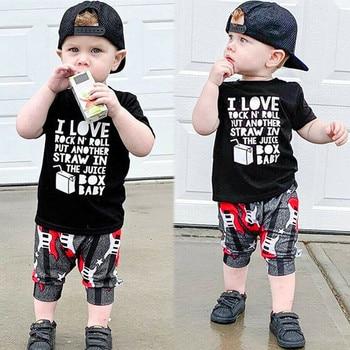 Moda Original 2019 niños pequeños y niñas camisetas de manga corta + trajes cortos de guitarra Abito en cotono a maniche corte #25