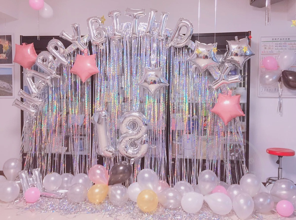 1set Happy Birthday Letter Foil Balloons Number 18 Balloon Black Gold White Latex For Year Old Decoration