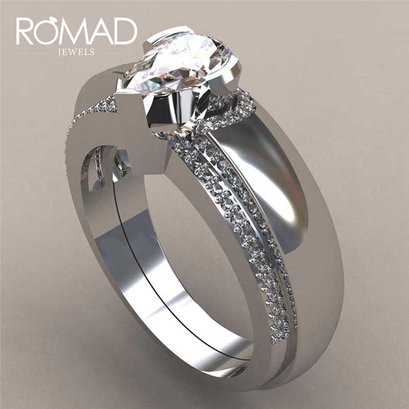 ROMAD Female Crystal Wedding Ring Set Luxury  Silver Water Drop Engagement Ring Vintage Bridal Wedding Rings For Women R5