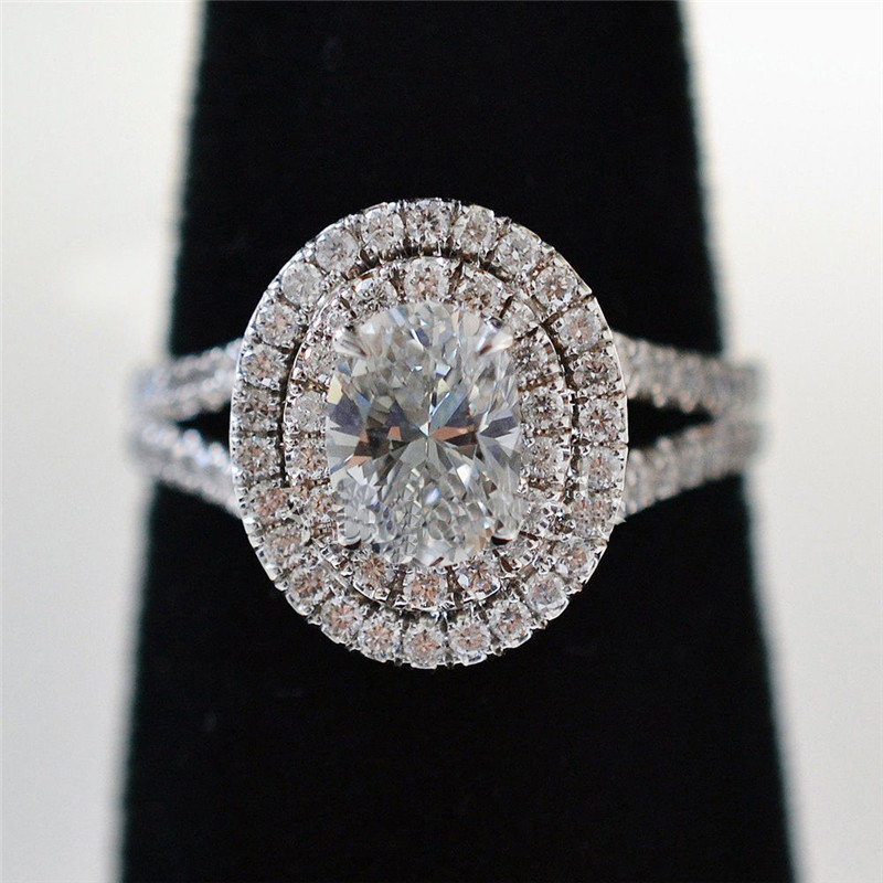 De luxe ovale 100% Soild 925 Sterling Argent anneau 1ct Sona 5A zircon Pierre cz Engagement Band Anneau De Mariage pour femmes hommes Bijoux