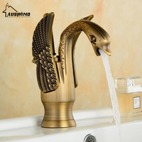 Antique Kitchen Faucet Gold Brass Basin Faucet Deck Mouted Pure Brass Mixer Hot And Cold Water