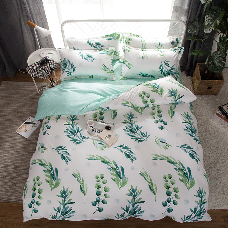 home textile king queen twin bed linen girl kid teen bedding set white green leaf duvet quilt cover pillowcase flat bed sheet