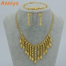 Anniyo árabe de 2017 sistemas de la joyería collar/pulsera/pendientes oro Color partido boda etíope africano/Nigeria regalo #004310