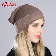 7d44382a6e8 Geebro Women s Beanie Hat with Rhinestones Ladies Spring Plain Color Cotton  Knitted Slouchy Beanies Bonnet Female Skull Beanie