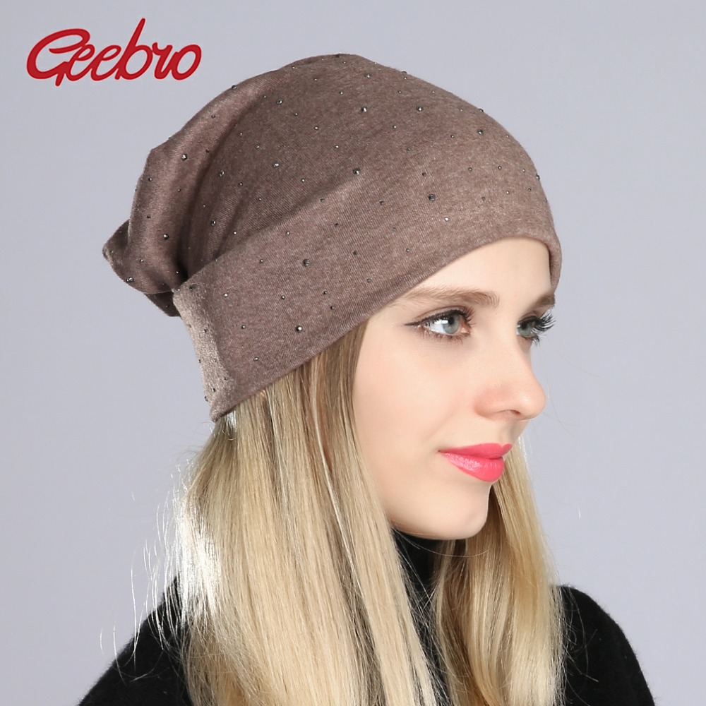 Geebro Women's Beanie Hat With Rhinestones Ladies Spring Plain Color Cotton Knitted Slouchy Beanies Bonnet Female Skull Beanie
