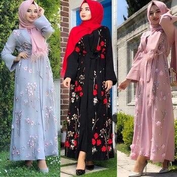 Floral Abaya Dubai Kimono Muslim Hijab Dress Abayas For Women Kaftan Caftan Marocain Prayer Turkish