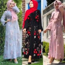Hoa Abaya Thổ Nhĩ Kỳ Kimono Dubai Hồi Giáo Hijab Đầm Abayas Cho Nữ Dài Caftan Marocain Cầu Nguyện Hồi Giáo Quần Áo Áo Dây Femme