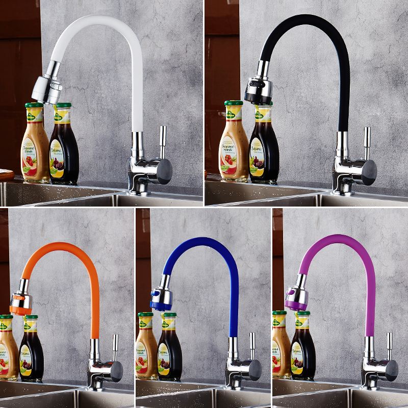 MTTUZK Solid Brass Kitchen Faucet Silica Gel Any Direction Rotating Hot Cold Water Tap Multi color Universal Faucet Torneira