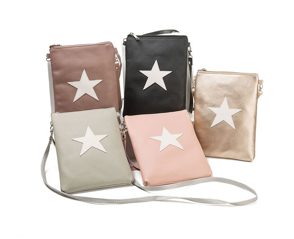 Women Star Shoulder Bags Handbag Mini Pouch Leather Ladies Cute Clutch Messenger Bag Purse Phone Bag Package Travel Bags Ladies