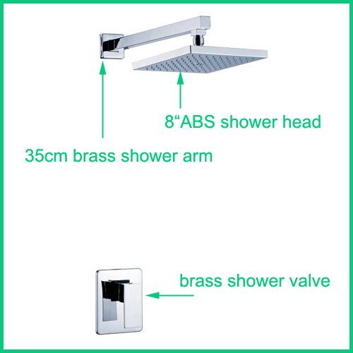 Free Shipping Concealed Shower Faucet In-wall Shower Faucet With 8inch ABS Overhead Shower free shipping ptfe stir rod for overhead stirrer