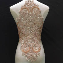 Bodice Rhinestone Embellishment Applique Beaded Necklace Heavily Full Crsytal