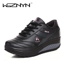 2017 Slimming Shoes Women Fashion Leather Casual Shoes Women Fitness Lady Swing Shoes Spring Autumn Factory Top Quality Shoes