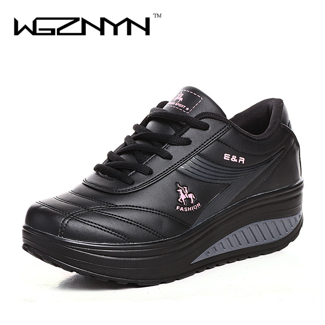 2019 Slimming Shoes Women Fashion Leather Casual Shoes Women Lady Swing Shoes Spring Autumn Factory Top Quality Shoes