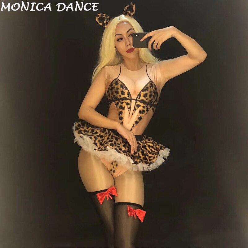 Costumes Spectacle Sexy Tenue Motif Strass Costume Partie Célébrer Cosplay Bodysuit Scène Femelle Chanteur Femmes Léopard De Danse Manches aSAOqAwd