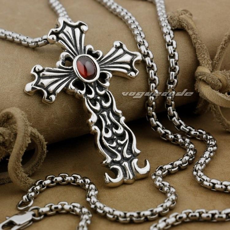 Rouge CZ pierre 925 en argent Sterling FLEUR DE LIS croix mode pendentif 9J027 (collier 24 pouces)