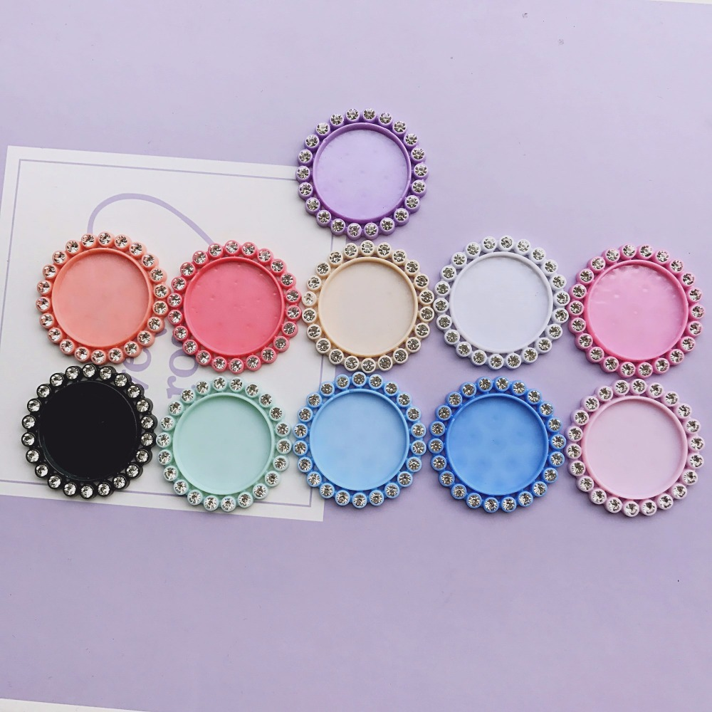 Free Shipping 10pcs 11colors Inner 25MM Flat Back Resin Cameo Frame