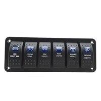 Waterproof 6 Gang 2LED Light Rocker Switch Panel Circuit Breaker 12V boat marine