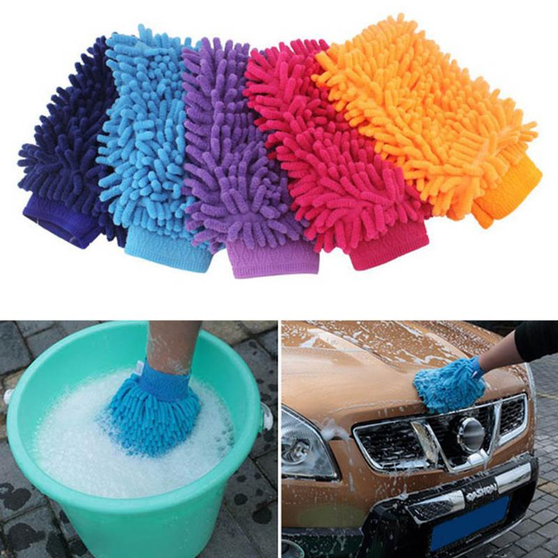 Double-faced Fiber Chenille Anthozoan Car Wash Gloves Brushes Microfiber Car Motorcycle Washer Car Care Cleaning Brushes image
