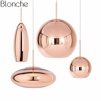 Tom Dixon Copper Glass Pendant Lamp Wide Mirror Ball Hanging Lights for Living Room Bedroom Industrial Lamp Home Decor Fixtures