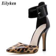 Eilyken 2019 New Leopard grain Patent Leather Heels Sexy Pointy Stilettos Fashion Ankle Bu