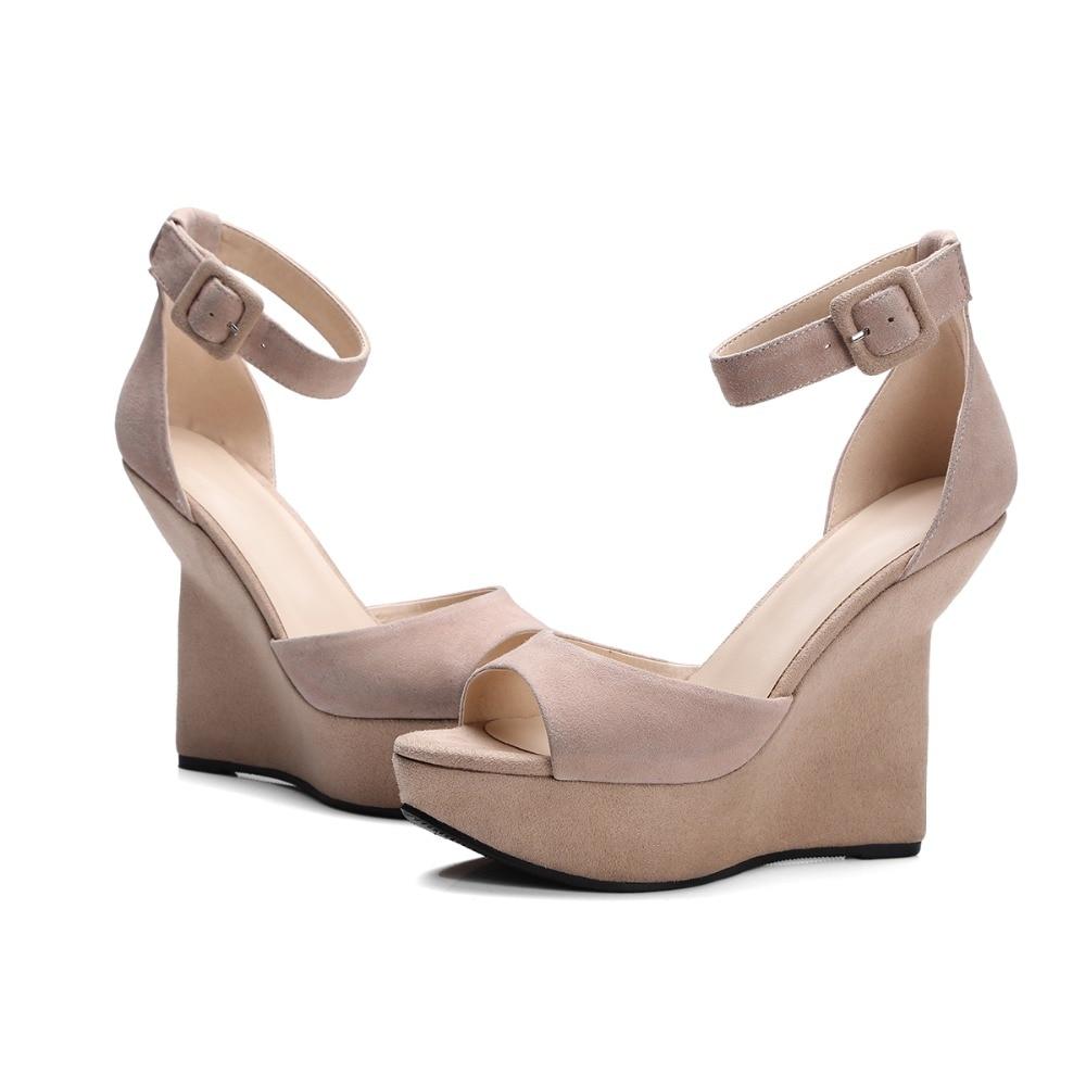 a7be2b15033d Arden Furtado 2018 summer wedges high heels 12cm buckle strap cover heels  green nude black suede platform peep toe sandals lady