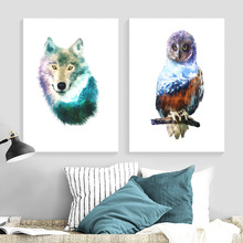Owl Wolf Abstract Mountain Forest Wall Art Canvas Painting Nordic Poster And Prints Pictures For Living Room Home Decor