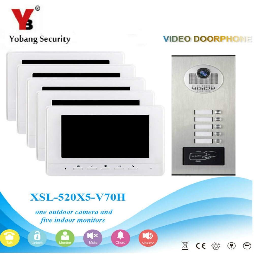 Yobang Security 7 inch LCD TFT Touch Color Video Intercom Doorbell Door Phone System 5 Monitor IR 1000TVL Camera For 5 Apartment free by dhl waterproof camera video door phone with 7 inch lcd tft hands free monitors intercom doorbell for apartment building
