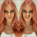 Gorgeous Peach Pink Color Synthetic Wig Fashion Long Nature Straight Lace Front Wig Top Quality Heat Resistant Wig Free Shipping