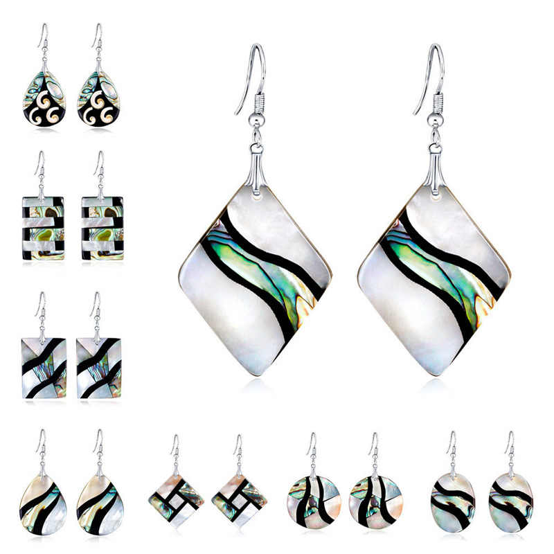 New Wild Temperament Natural  Abalone Shell Hook Dangle Earrings 1Pair