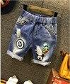 2016 Nova verão Mickey & Pato Donald meninos calça jeans curto roupa de crianças de algodão crianças calções calças do bebê estilo dos desenhos animados 2-7 T