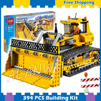 394pcs New City Big Dozer Bulldozer 02074 Model Building Blocks Children Lifting Mechanism Gifts sets Compatible With lego