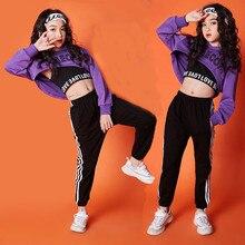 Vêtements pour filles, costume à manches longues pour danse jazz et hip hop, pour enfants de 10 à 12 ans, haut à capuche