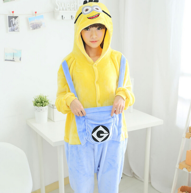 Plus Size Adult Flannel Winter Warm Despicable Me Minion Onesie Footed  Pajamas Set For Girl Flannel fe428476a