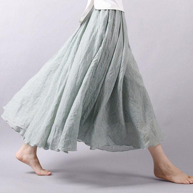 c6a5b7244 Moda 2019 nuevas faldas de verano para mujer lino algodón Vintage Falda  larga cintura elástica Boho Beige gris grande Swing Maxi