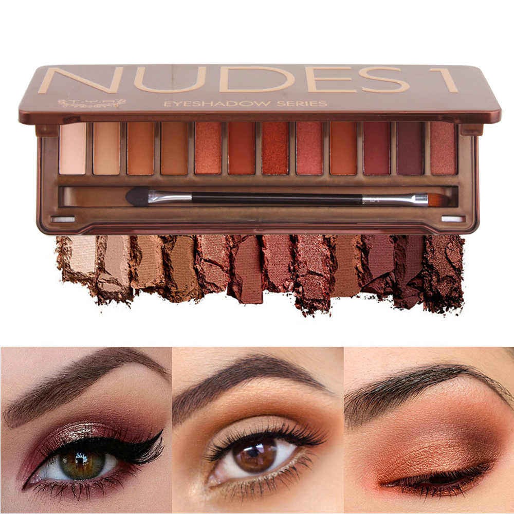 TYA 12 nude color NK 1 heat Smoky eyeshadow Palette Balm Glitter pigment matte Palette Brow Cosmetic Makeup Natural Earth Set цена 2017