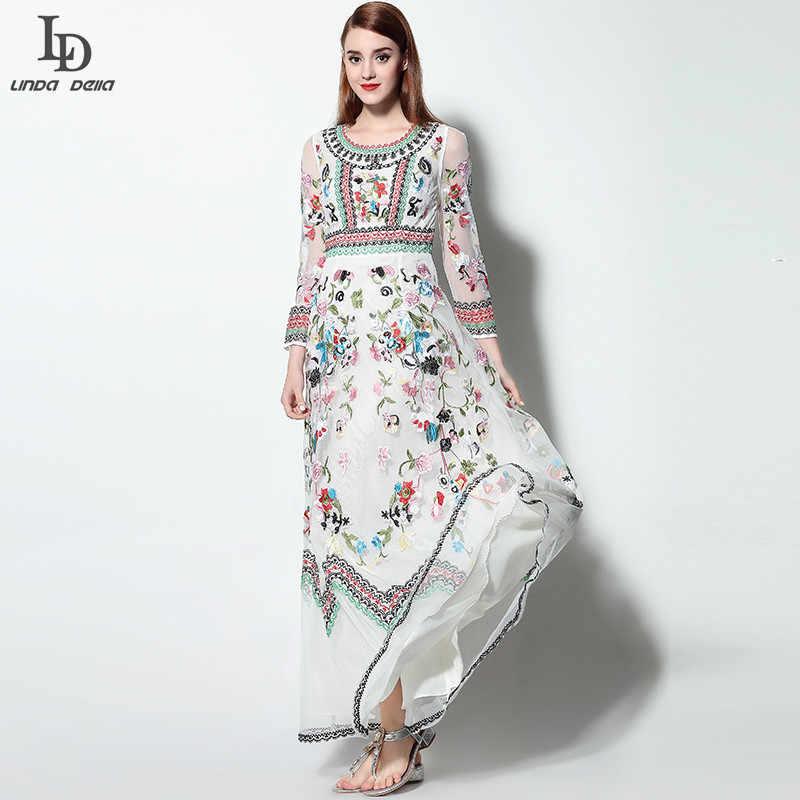 8574ac242e ... LD LINDA DELLA Classic Autumn Winter Runway Designer Dress Women's Long  sleeve Gauze Retro Noble Floral ...