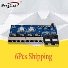 6 stück Gigabit fiber schalter 8 port RJ45 2 fiber port single fiber 1310nm/1550nm 1,25G media converter PCB
