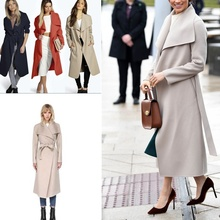 ZOGAA Women Plus Size 3XL Wool Blend Coat Casual Warm Winter Lapel Long Sleeve Belted Slim Solid Large Overcoat Trench Coat