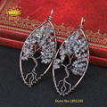 Wholesale Antiqued Bronze Copper Wire Wrapped Leaf Pendant Labradorite Chips Leaves Pendant Necklace Jewelry Supplier LF013