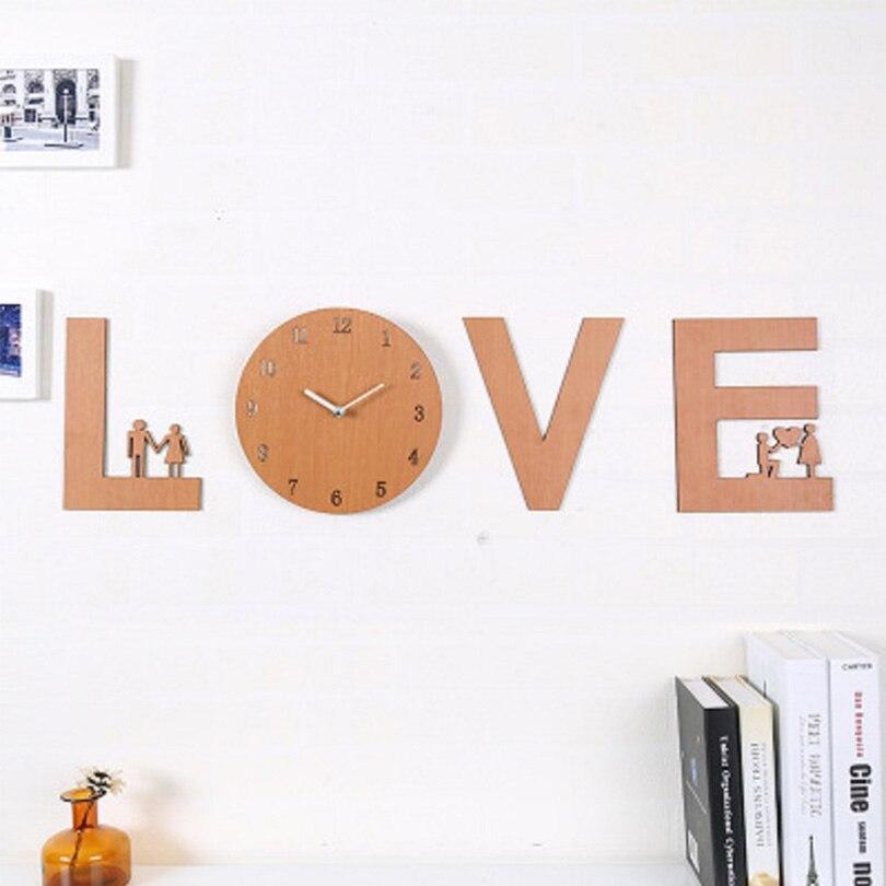 Amour En Bois Horloge Murale DIY Chambre Sticker Décor Cercle Acrylique vinyle Art Stickers Muraux pour La Maison Chambre Décor montre livraison gratuite